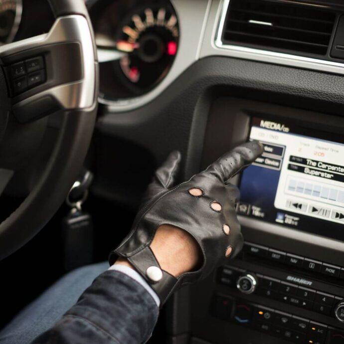 Black driving gloves