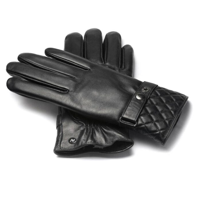 Men's gloves with quilting at the bottom