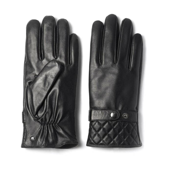 Black gloves with quilting at the bottom