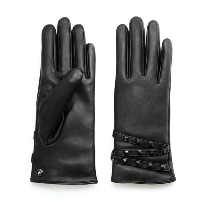 Black leather women's gloves with studs