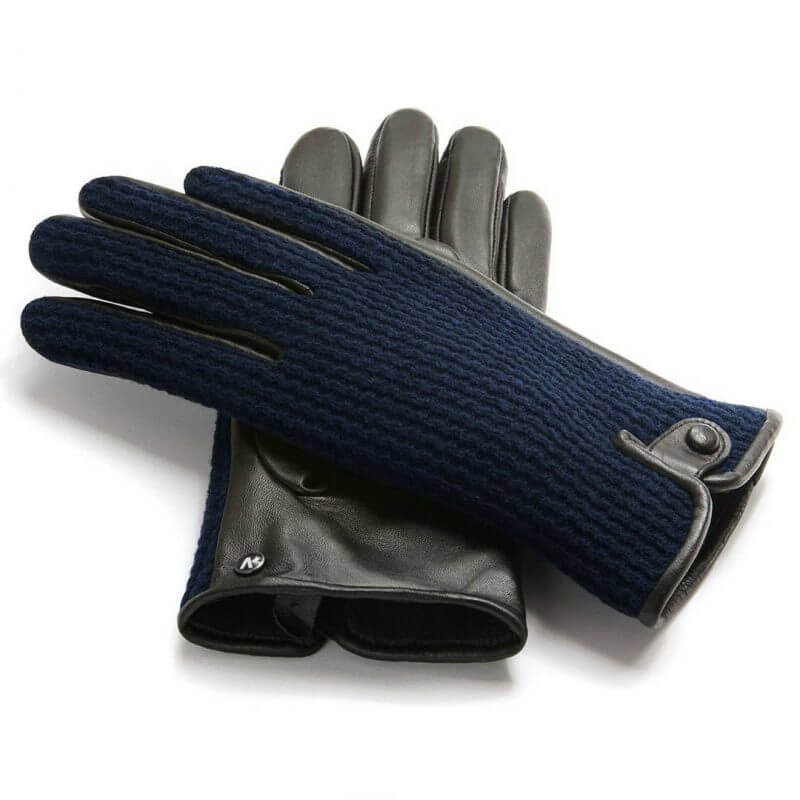 Dark blue leather gloves with wool