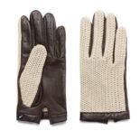 Beige driving gloves for men