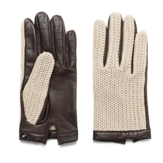 Beige driving gloves for men