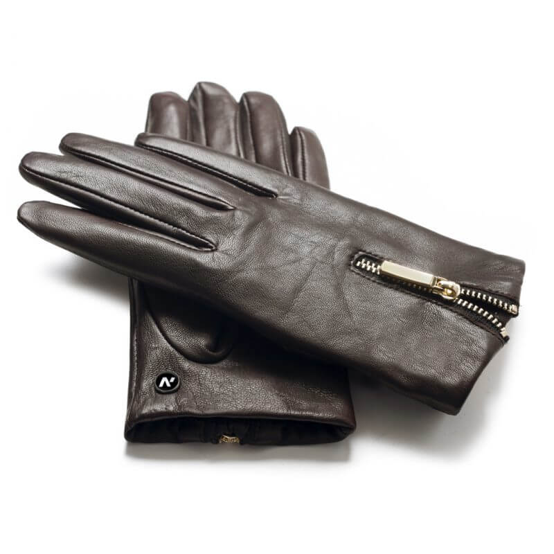 Gloves with zippers for ladies