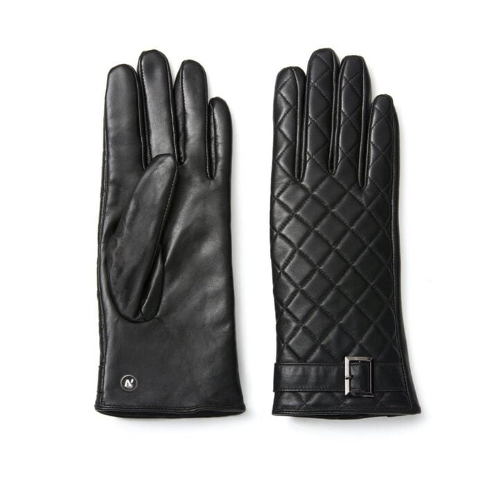 Black leather quilted gloves