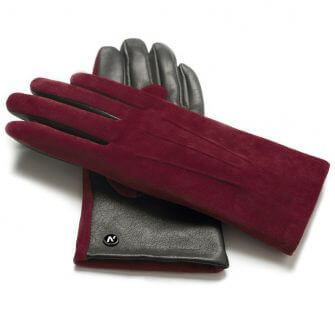 Wine colored gloves for ladies