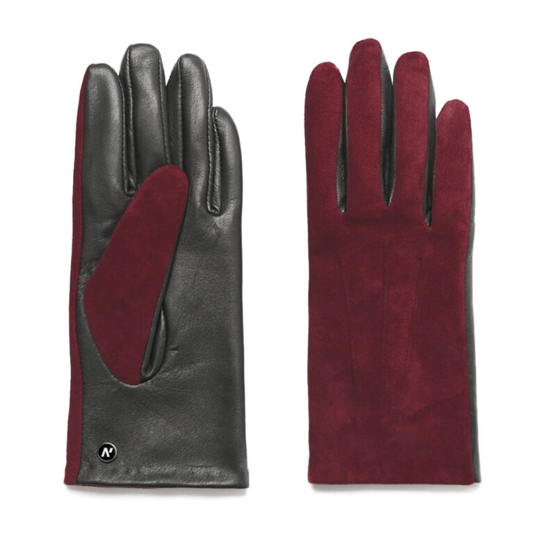 Wine colored gloves for women