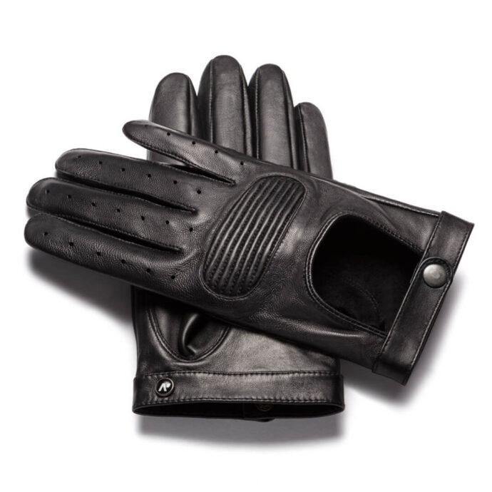 Comfortable black driving gloves for men