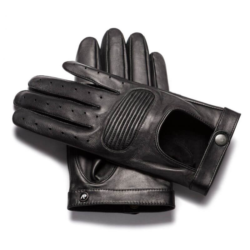 Comfortable black driving gloves for men