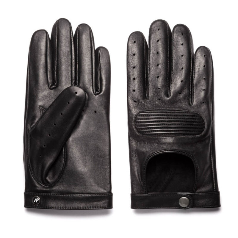 Comfortable black driving gloves