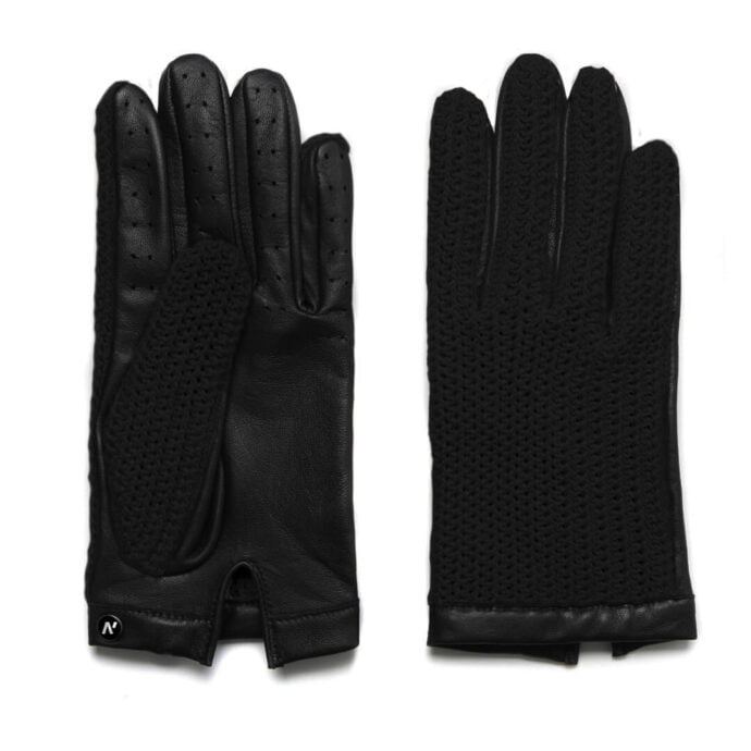 Black gloves made of leather and wool