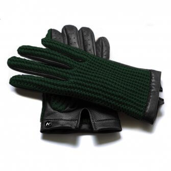 Green touchscreen gloves without lining made of lamb nappa leather