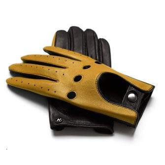 napoDRIVE (brown/yellow) - Men's driving gloves without lining made of lamb nappa leather