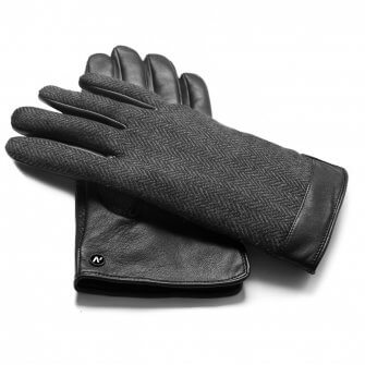 Men's gloves in black and grey color