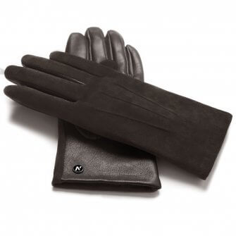 napoROSE (brown) - Women's gloves with lining made of lamb nappa leather