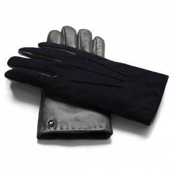 Men's gloves in black and dark blue color