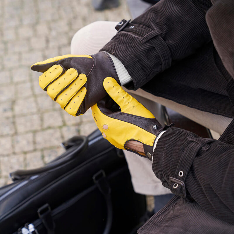 Yellow driving gloves for him