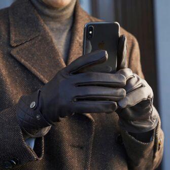 Brown modern gloves for him