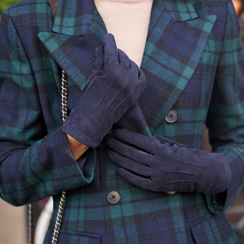 Dark blue touchscreen gloves with lining made of lamb nappa leather