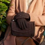 Brown women's gloves with lining made of lamb nappa leather