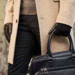 Black men's gloves with cashmere lining made of lamb nappa leather