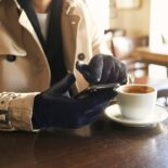 Navy men's gloves with cashmere lining made of lamb nappa leather
