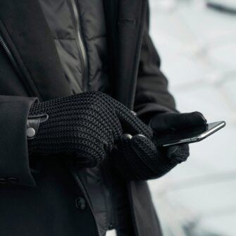 Black men's driving gloves with invisible touchscreen technology