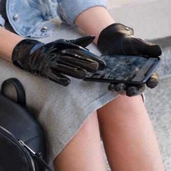 Shiny gloves for women