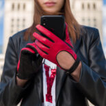Red driving gloves for women