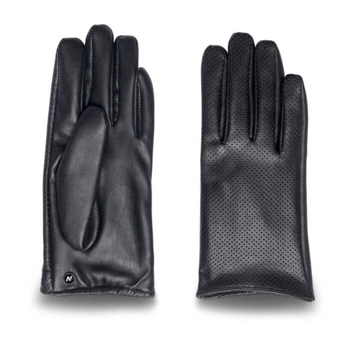 Women's gloves with lining made of eco leather