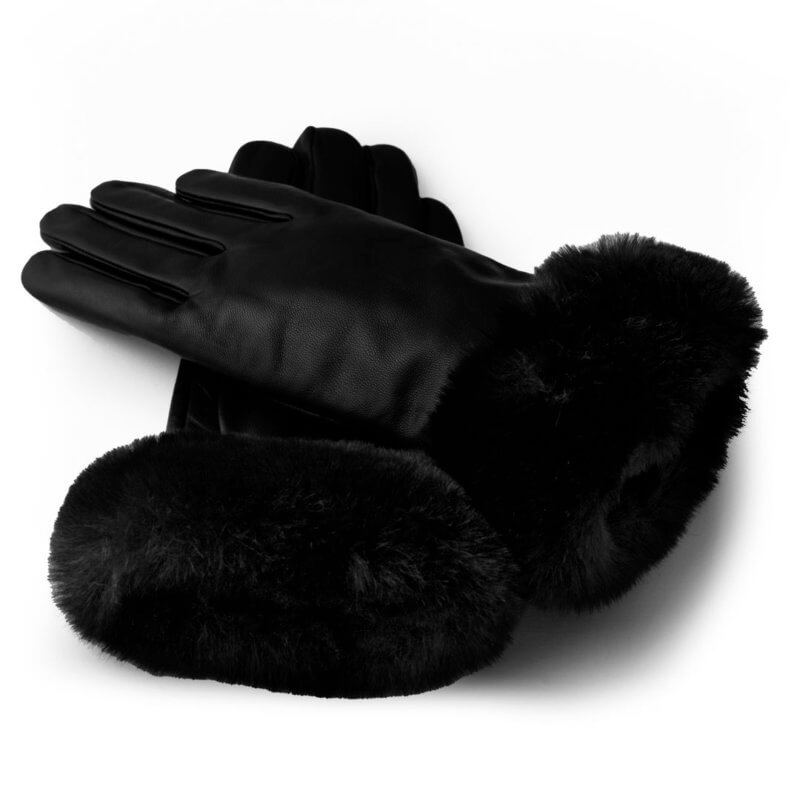 Black touchscreen gloves with synthetic fur