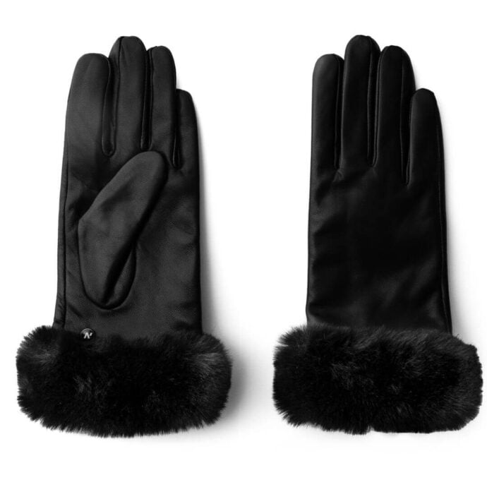 Classic winter gloves with synthetic fur