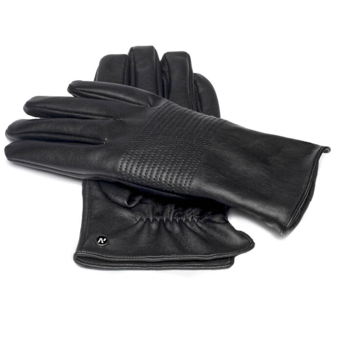 Black gloves with lining made of eco leather for him