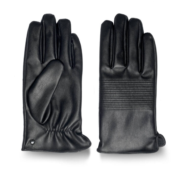 Black winter gloves with lining made of eco leather