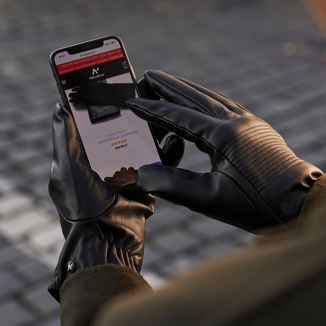 Black touchscreen gloves with lining made of eco leather