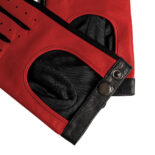 Red driving gloves details