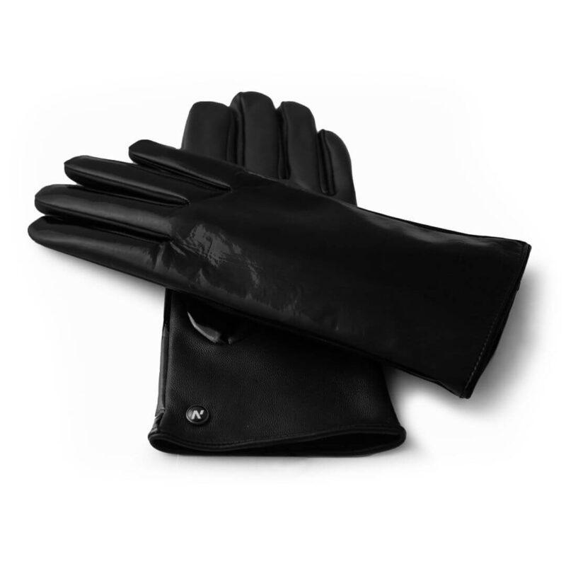 Black shiny gloves for her