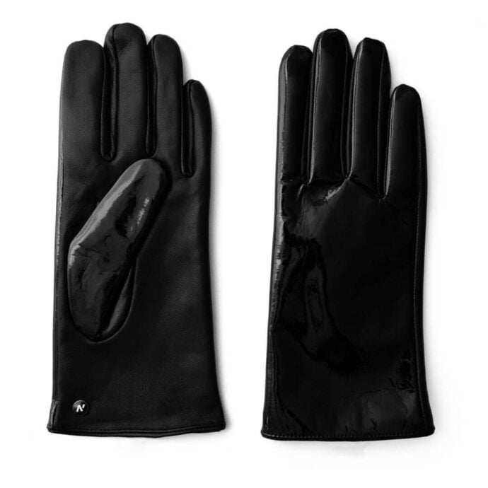 Black shiny gloves