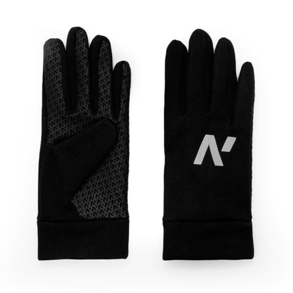 Men's touchscreen sports gloves with a reflective logo