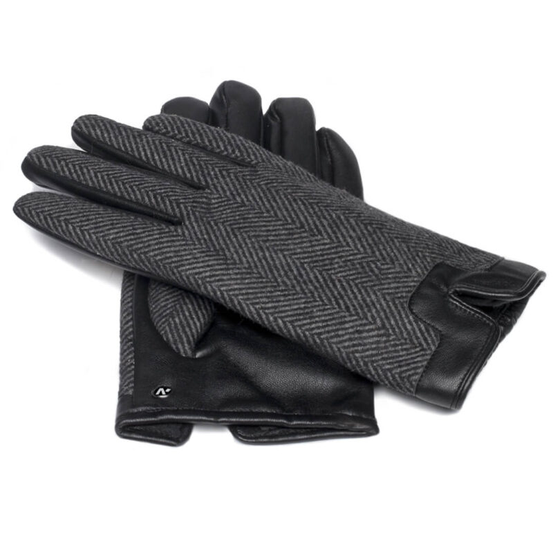 Men's touchscreen gloves with lining made of eco leather