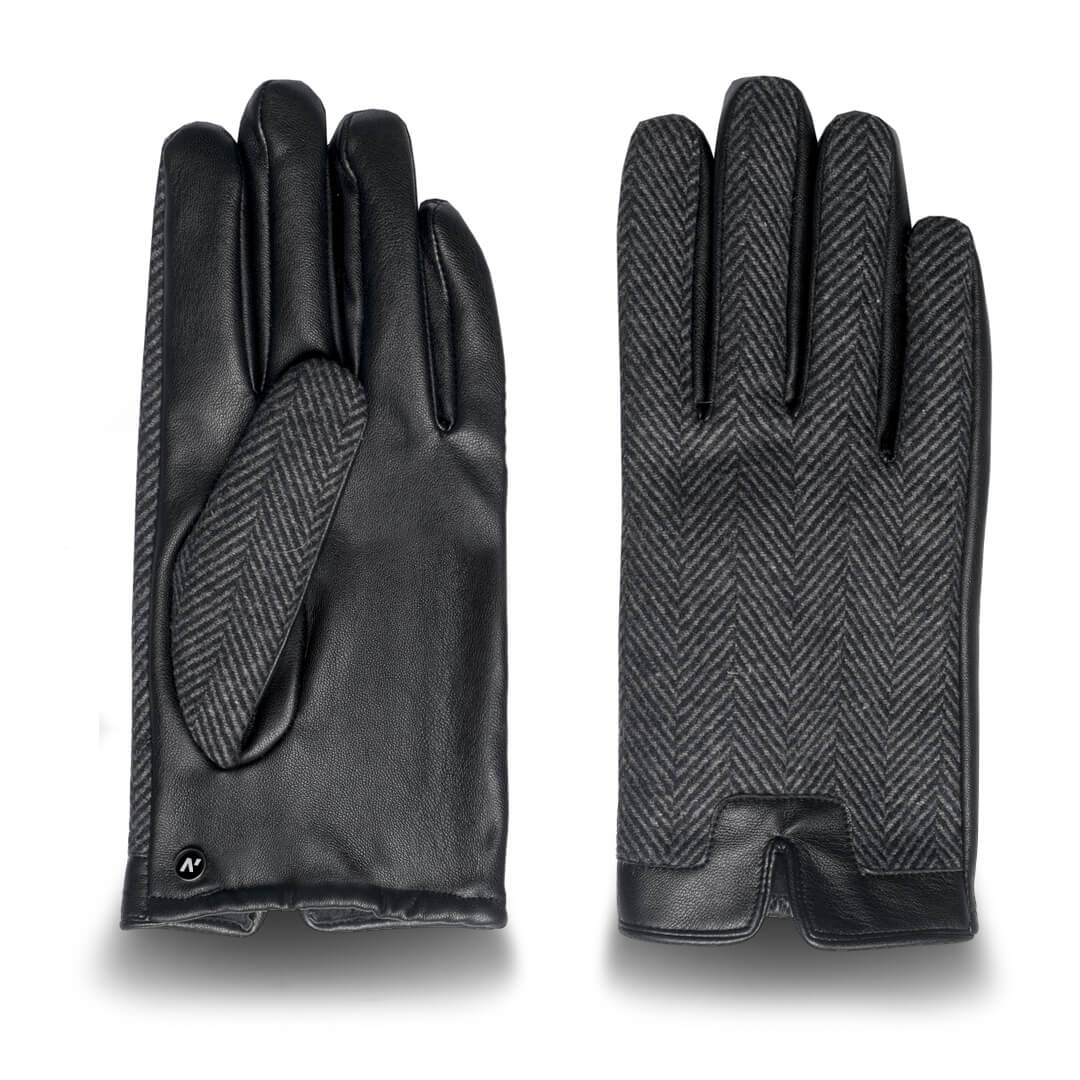 Men's gloves with lining made of eco leather