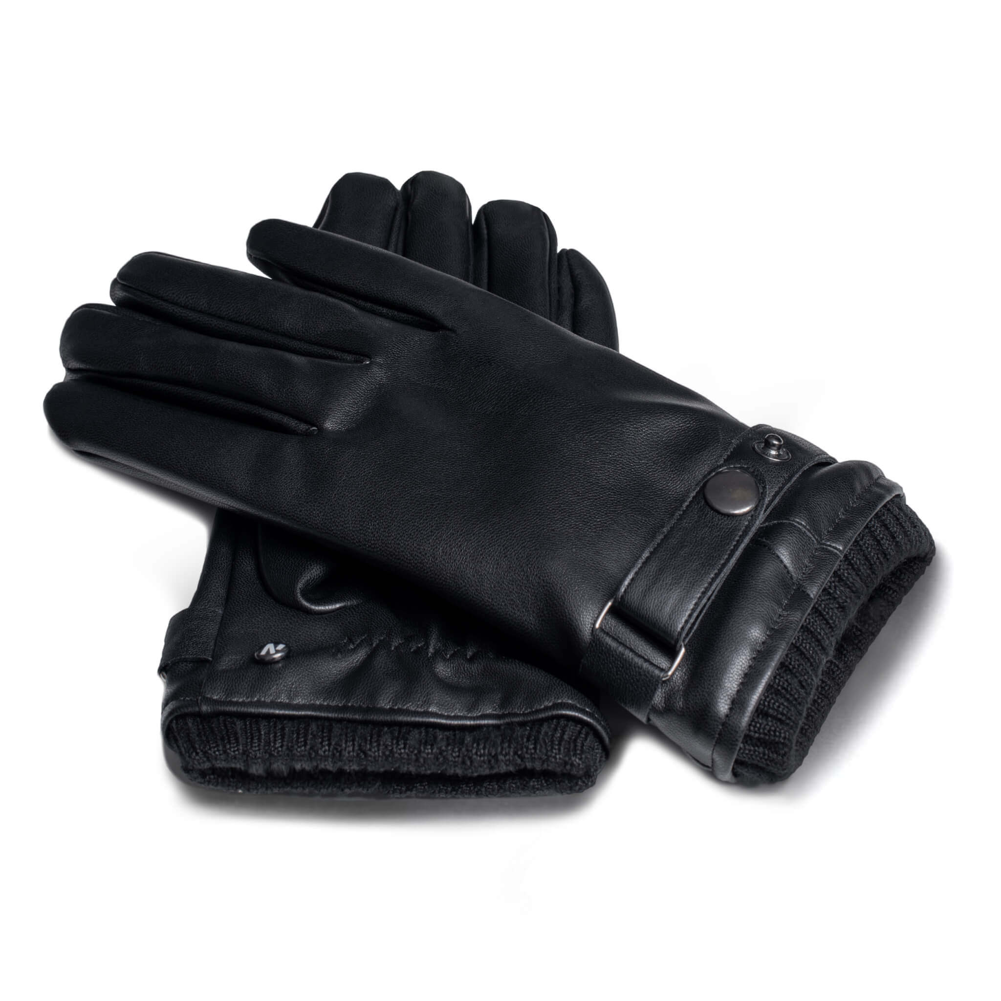 Black gloves with lining made of eco leather with touchscreen technology