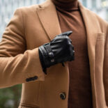Winter gloves with lining made of eco leather